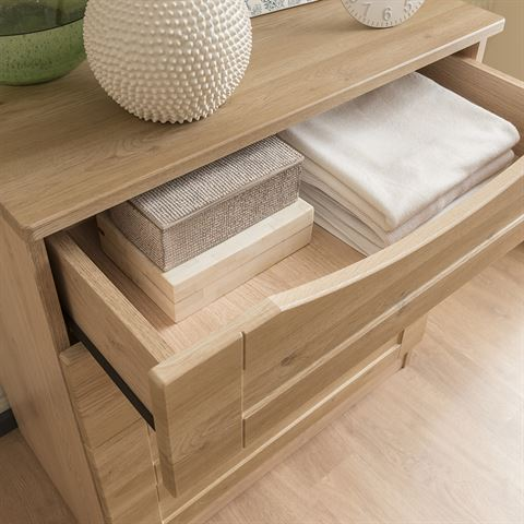Dementia Friendly Open Drawer with Scooped Handle and Soft, Curved Edges