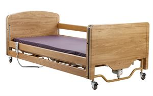 Picture of Elite 4 Section Profiling Bed including full length wooden side rails and key side rail lock down facility